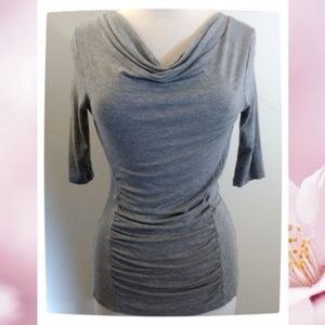 Cable & Gauge Ruched Half Sleeve Cowl Neck Top
